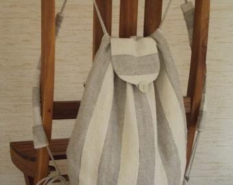 Rucksack kit bag women travel backpack men linen gift striped organic linen ivory gray student's book bag