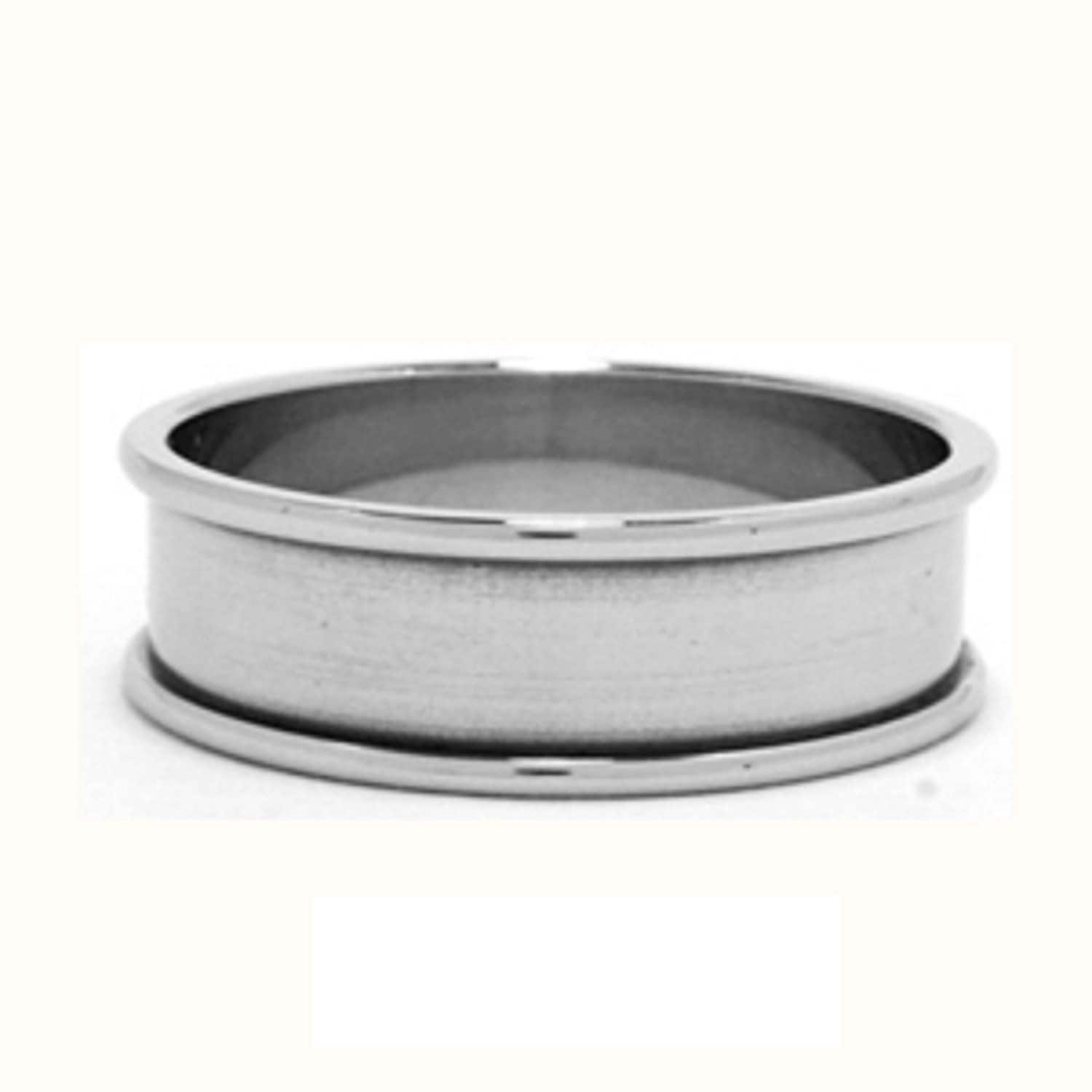 Stainless Steel Channel Band Name Ring 7mm