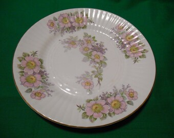 """One (1), 8 1/4"""" Bone China, Luncheon Plate, from Royal Tara, of Ireland, with Pink Floral Design."""