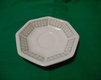 """Two (2), 5 1/2"""" Tea Cup Saucers, from Johnson Bros., in the Chequers Pattern, Circa 1983."""