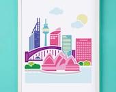 Sydney Australia Art Print for Nursery or Children's Room Decor