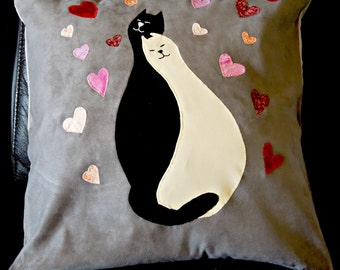 """Cat pillow, cushion cover """"Cats in Love"""", appliqued, handmade, animal, pet"""