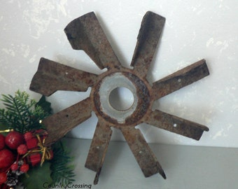 Rusty Flower Garden Decor Rustic Wall Decor Assemblage Use For Sculpture  Altered Art or Display