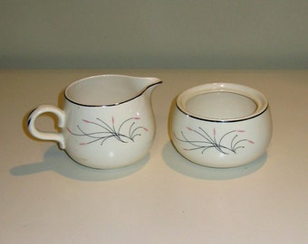 Homer Laughlin Rhythm Capri Sugar Bowl & Creamer Number J 54 N 6
