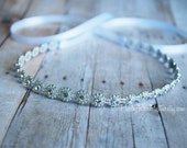 Rhinestone Tieback - Newborn Tieback, Halo, Crown - Photo Prop, Flower Girl, Christening, Baptism, Dress Up