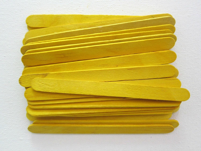 35pcs Yellow Popsicle Wood Sticks Standard Size By