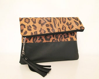 Leopard Clutch Purse, Fold over, Animal Print , Black , Tassel