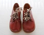 Vintage Kids Brown Leather Lace Up Toddler Boots