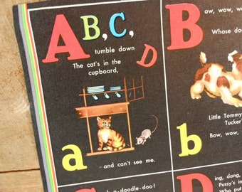 Vintage Child's Alphabet and Numbers Illustration from 1945 Book Litho on Linen Pages
