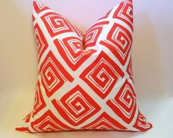 Coral & white sofa pillow cover, modern geometric design, pillowcover home accent