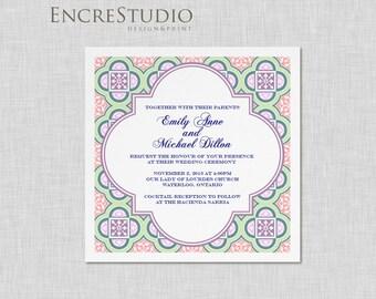 Spanish Square Tiles Wedding Invitation Suite