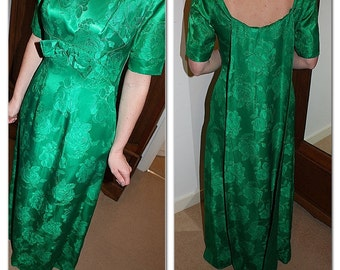 Vintage 1960s emerald green brocade evening gown dress with detachable train