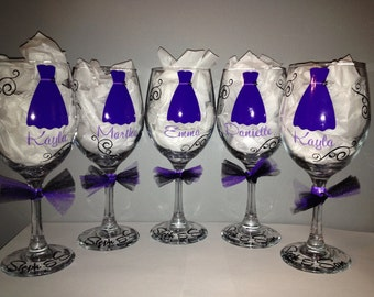 Bridal Party Personalized Wine Glass