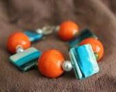 Orange and Teal Wavy Boxy Bracelet