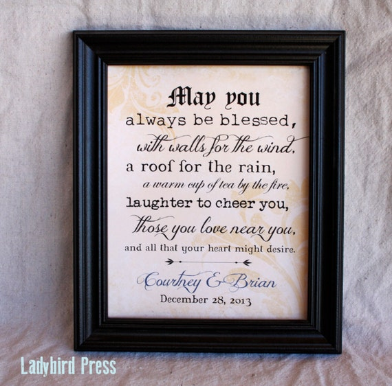 Printable Wedding Gift Print Decor Irish Blessing PDF