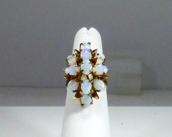 Beautiful, Vintage, Estate, Ladies, 14k, Yellow, Gold, Opal, Cluster, Ring
