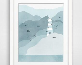 Lighthouse Art Print, Nautical Decor, Beach Decor, Coastal Decor - Blue Grey