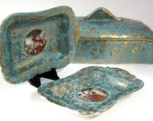 Turquoise Gold Vanity Box And Trays 1940s Fancy Gold Overlay Goddesses Aqua Dressing Table