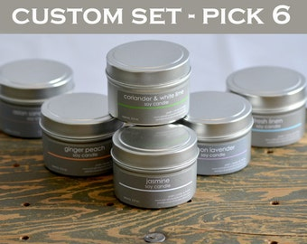 Candle Set - Soy Candles - Pick any 6 scents - 4 oz. tins - candle gift - fresh scent candles - fall candles - holiday candles