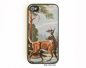 iPhone 4 Case. iPhone 4S Case. Vintage Paint By Number Deer. Phone Case. iPhone Case. Phone Cases. iPhone Cases.