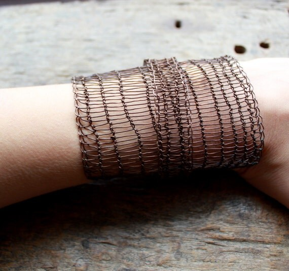THE FACTORY GIRL Statement Wide Bracelet Industrial Chic Copper Wire Crocheted Wide Cuff