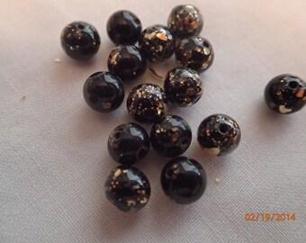 Vintage 1950's Black and Gold Speckled Glass Beads/15 Beads/6mm/PJsBeadedEagle