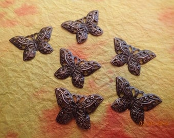 6 Copper colored Filogree Butterfly Charms/PJsBeadedEagle