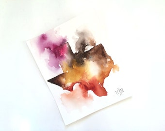 New! 5x7 Texas Watercolor Map Print, Watercolor Painting, Colorful Watercolor Map