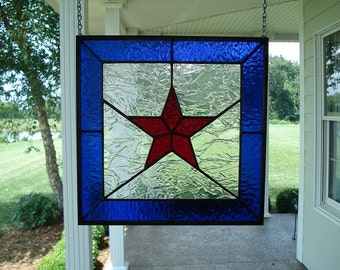 Stained Glass Window Panel Red Star