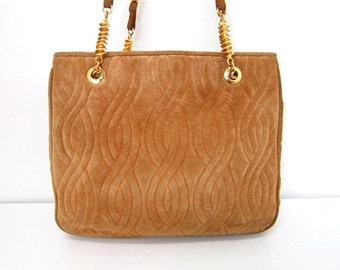 Vintage FENDI tanned brown suede twist rope motif tote with long handles with unique pasta motifs. Rare masterpiece for upcoming season.