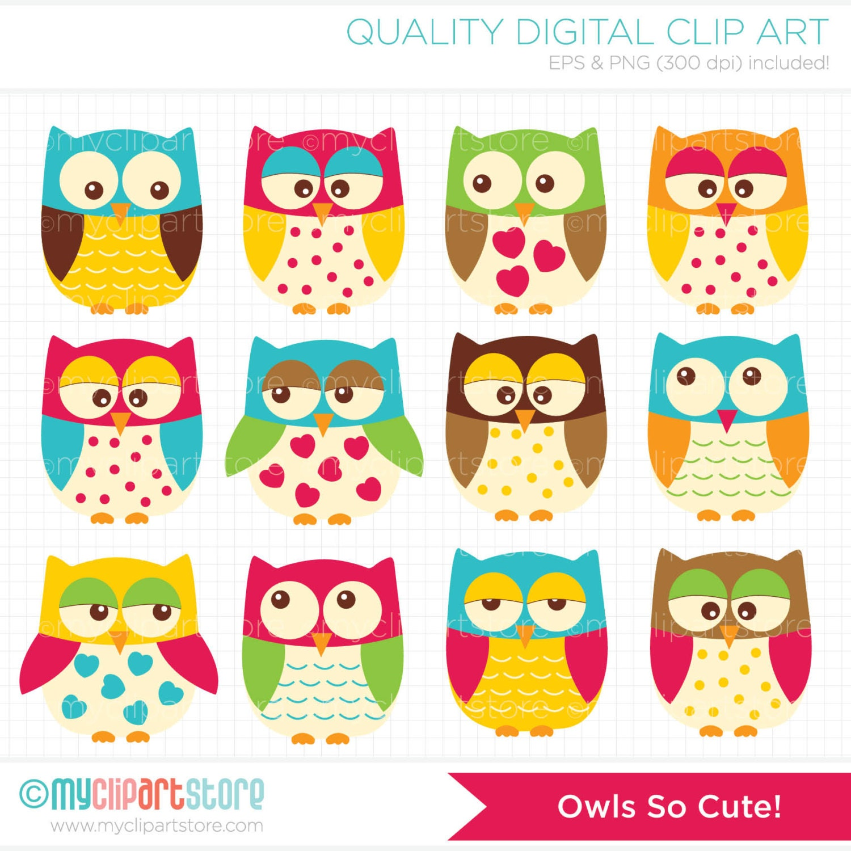 Vector Clipart Owls so Cute / Bright Owls / owl family