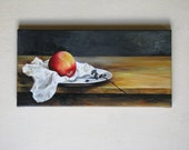 Original Acrylic Painting On Canvas READY TO HANG Still Life, Apple / red, white black, brown, yellow, mustard, gold