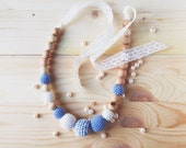 Crochet organic cotton teething romantic Nursing necklace with vintage lace baby blue and Ecru Baby shower  gift for her under 50