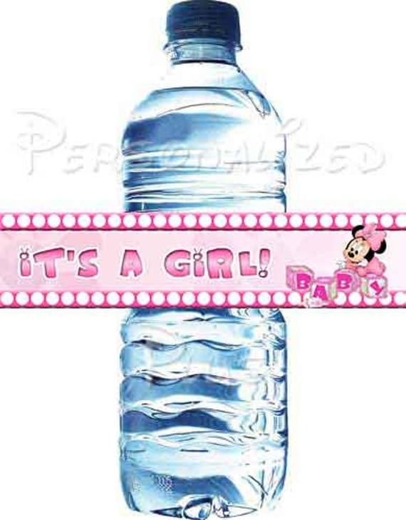 Minnie Mouse baby shower water bottle labels: Instant Download