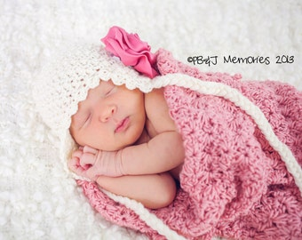 Handmade Newborn Cocoon and Hat Set - Crochet - PHOTO PROP - Super Soft - Baby Girl - ADORABLE