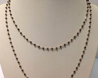 Handmade Black Diamond Briolette in 18K Yellow Gold Necklace
