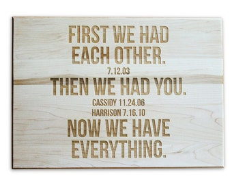 Personalized Cutting Board Family Anniversary Gift Cutting Board 10x14 Maple Custom Laser Engraved