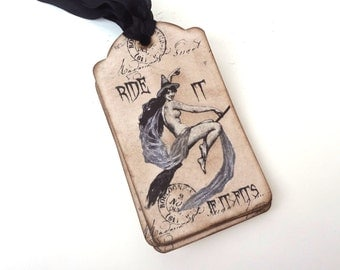 Halloween Tags, Funny Witch Tags, Treat Bag Tags for Adults, Halloween Labels, Wiccan Tags, Halloween Decor, Nude Witch Tags, Set of 10