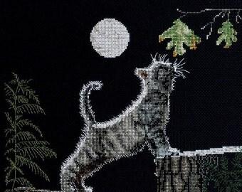 Max's Moon cat at night cross stitch kit New Bucilla
