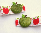 Sparkly green apple clippies- pigtail clips- back to school hair
