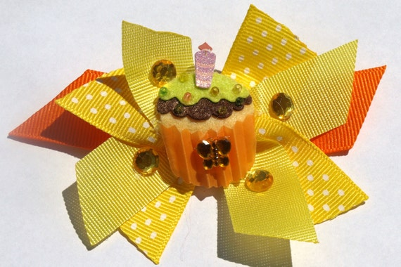 Yellow and orange cupcake party bow-birthday accessories-baby girls