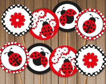 Ladybug Printable Cupcake Toppers, Instant Download - Digital File, Printable, DIY