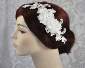 Lace Bridal Headpiece, Bridal Hair Accessories, Silk Flowers in Ivory Off White, Lace Bridal Headpiece on a Hair Comb - 104HP