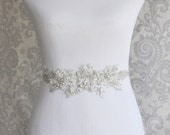 "Reserved - 24"" - Crystal Sash, Rhinestone Bridal Sash on Floral Lace, Silver Crystal wedding sash, Bridal Belt, Bridal Accessories - 102S"