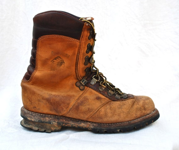 Brown Leather Lace Up Work Boots Shit Kicker Logger Hiking