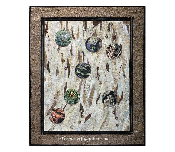 Textile Art Quilted Wall Hanging  Macro Photograph Quilt