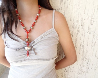 Orange Glass Beads Necklace,Earring Set , OOAK Feminine  Necklace, Valentines
