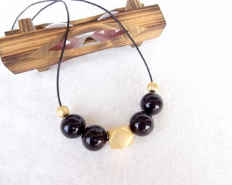 Black & Gold Necklace, Geometric Necklace, Geometric Jewelry,Acrylic Beads,  Valentines