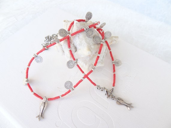 Red Coral, Necklace and Bracelet Chance-Silver Plated Set