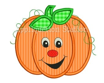 Pumpkin Fall Goofy Smiley Face Applique Machine Embroidery Design orange thanksgiving INSTANT DOWNLOAD